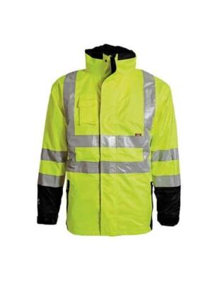 hi vis waterproof breathable rain jacket high visibility workwear